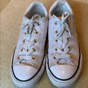 Girls Converse all-star white w/gold stars size 4